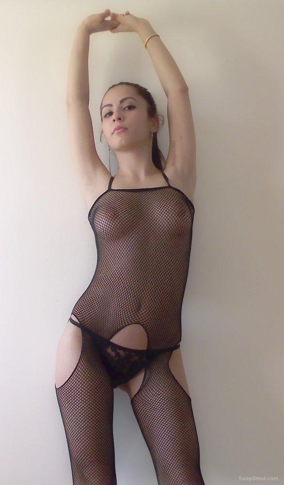 My sweet gf in fishnet bodystocking so sexy posing