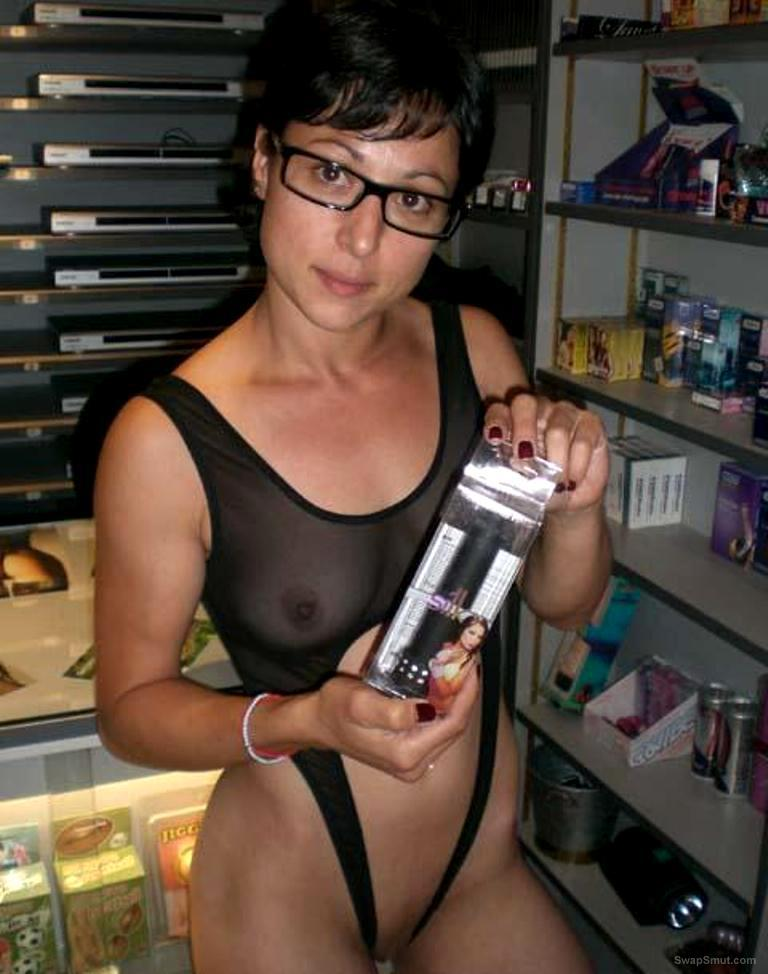 A sexy wife Nina out and about visiting her favourite sex shop