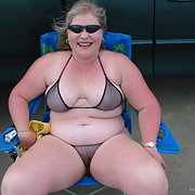 My sexy bbw slut San Antonio wife in bikini on the beach