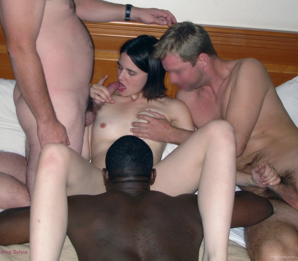 Slut wife Sylvia being a true slut interracial group sex swinger pics