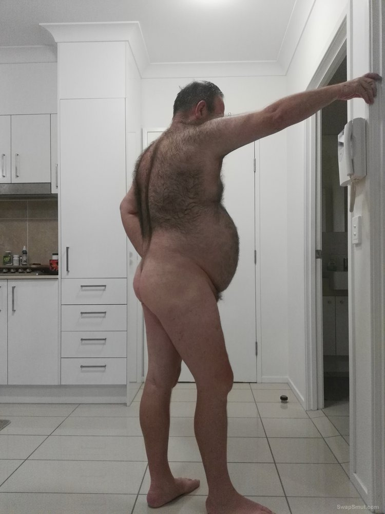 Hairy old bear love showing his body to whoever like to see