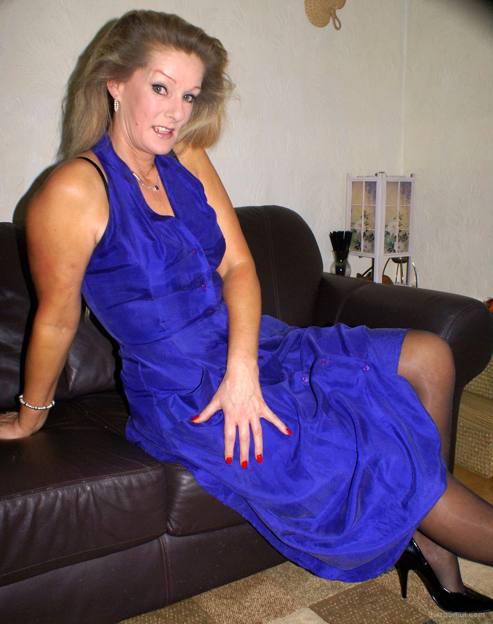 Just me stripping out of my new blue dress mature woman posing
