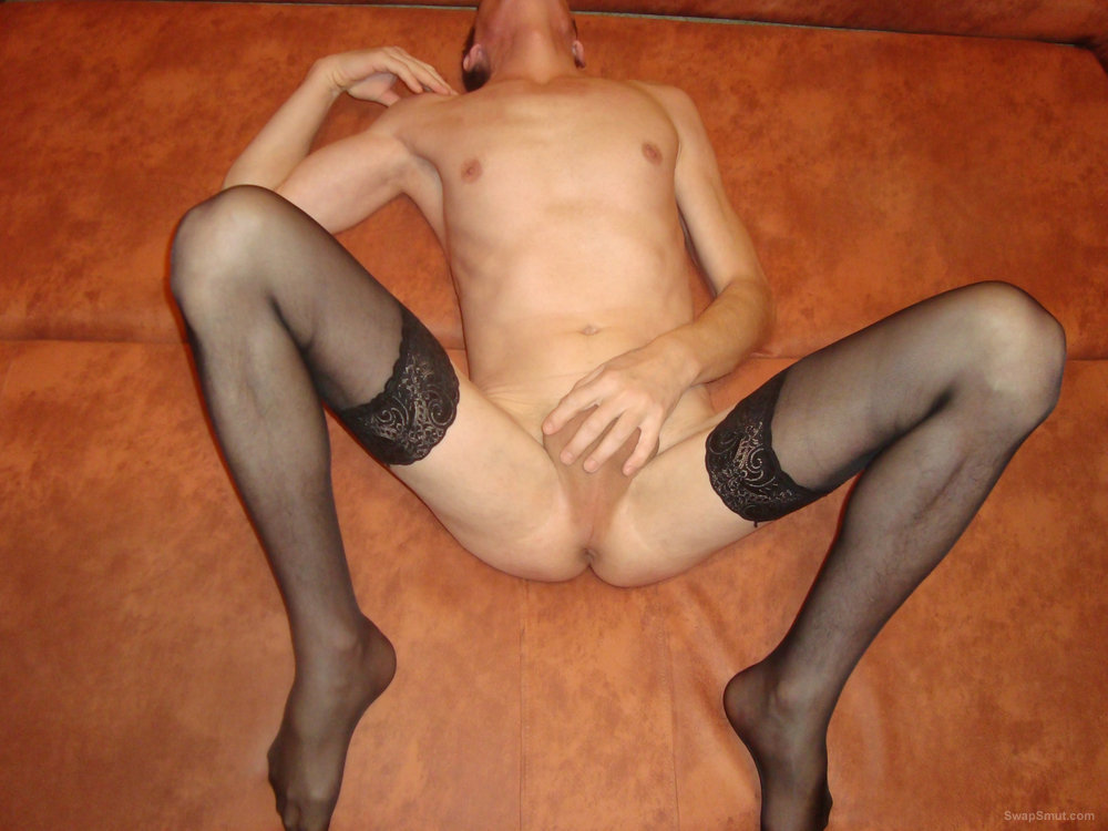 Crossdresser in Lingerie for your pleasure cock and balls on show.