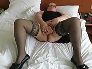 Playing with my dildo at a hotel room and havin so much fun