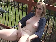 Wife rubs her naked body outside on the deck