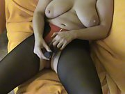 Busty Deutsch Amateu Milf Linda pussy play with vibrator orgasm