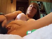 Hot wife ramming her cunt with a 10 inch dildo and orgasm