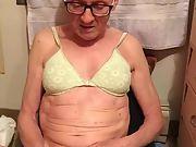 Exposed Faggot Pervert Slut Mature Sissy in Bra Beats Meat and Cums