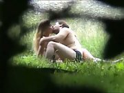 Spy camera hidden in undergrowth capturing lovers sex at beauty spot