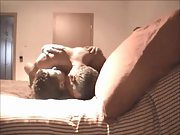 Middle aged amateur couple having sex on vacation