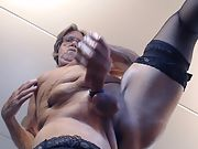 Masturbating wearing my black nylons with butt plug in ass