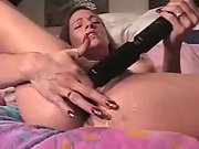 Dirty slut cumming with her big powerful vibrator