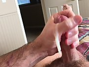 Big load of cum shooting from my cock all over me