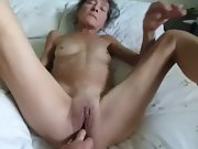 Senior milf likes to try new toys in her pussy