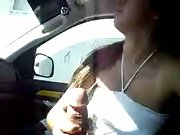 Latina blow in the car