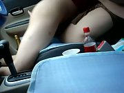 Hairy pussy woman sex in parked car doggy style on front seat