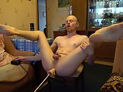 LanaTuls - My Cock in Small Chastity and Machine Fuck Me Raw on the Chair