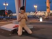 Crazy amateur girl stripping down naked at the gas station