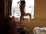 Toying the wife in hotel window