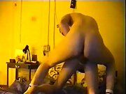 Hot brunette riding real amateur cock