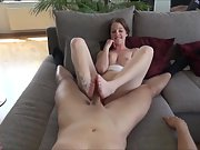 She makes Her first Footjob by a User