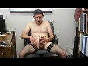 Black stockings jackoff with cumshot