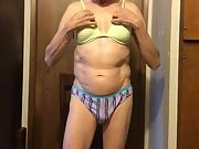 Exposed Faggot Pervert Slut Wears Panties And Steps Into Bra