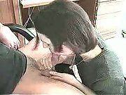 Office secretary oral sex performance review with company boss