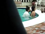 Swimming pool fuck in public