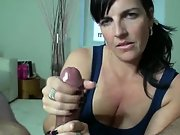 Gorgeous housewife strokes a fat dick nice & slowly