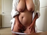 Huge boobed wife pleases herself early morning