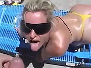 Hot blonde pleases a big dick camera guy outdoor