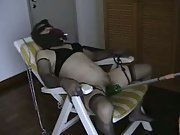 Asian Slut Violated In Bondage Sex Chair Tied Up Masturbation