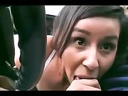 Young and silly girl giving so oral fun in car