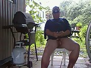 ME ON THE PORCH WITH MY NEW TOY GUN MASTURBATING DICK