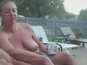Wife watches me rub one out in backyard