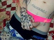 My jacking off in panties and crossdressing