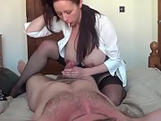 Busty wife handjob and riding cowgirl