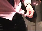 Hot blonde sex in a public toilet with cumshot facial