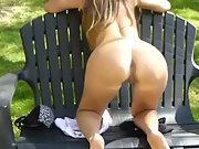 Wife exposing huge tits and clitoris in the park