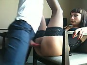 Cute brunette in stockings and basque banged on a chair by a stranger