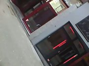 Hidden spy cam in Amsterdam walking past red light district prostitute
