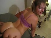 Horny cuckold wife fucking hard in a threesome