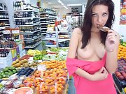 Gorgeous brunette nude exhibition in public