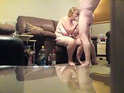 Hubby and wife fucking each other in the lounge on the couch