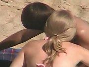 Voyeur couple secretly filmed from above randy full sex on beach